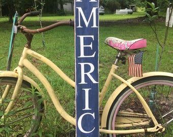 America Vertical wood sign