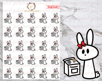 Cooking, Rosy the Bunny Stickers, Planner Stickers, Hand Drawn Stickers