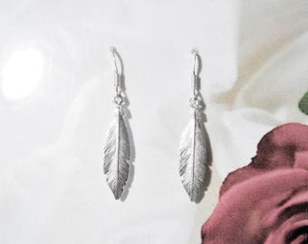 Beautiful earrings solid 925 sterling silver feather