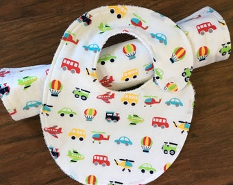 Baby Burp Cloth Bib Set, Baby Shower Gift, Transportation Theme, Bib and Burp Cloth, Car Bib, Gender Neutral, Baby Branch Boutique