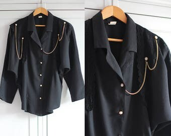 Vintage 80s shirt 1980s Black blouse with gold chain and perals Elegant loose top Retro women fashion Oversize / Small size