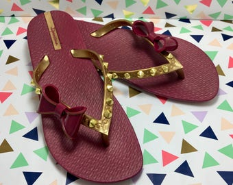 Maroon and Gold Bow Flip Flops with Gold Studs