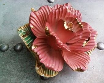 Stunning large pink vintage rose ornament, vintage wedding cake topper, floral decoration