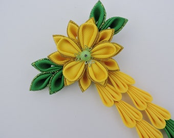 Kanzashi Fabric. Flowers hair clip with falls.Green and Yellow.