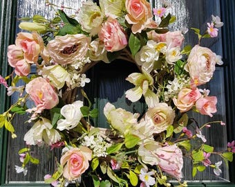Spring wreath, spring flowers, floral decor, rustic decor, country decor, country floral, front door decor, door wreath, wedding decor