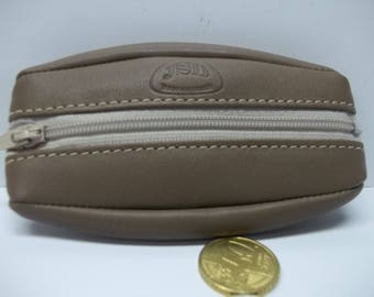 wallet with a zipper extra flat soft taupe color leather: height 12 cm