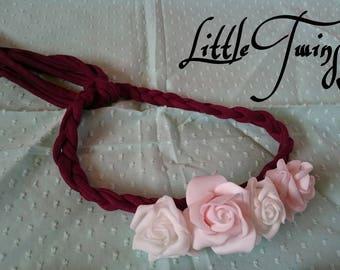 Burgundy flower headband headband style romantic Bohemian