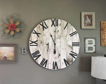 "24"" Pallet Clock, Farmhouse, White Home Decor, Farmhouse Wall Clock, Oversized Wall Clock, Shiplap Decor, Farmhouse Decor, Rustic Decor"