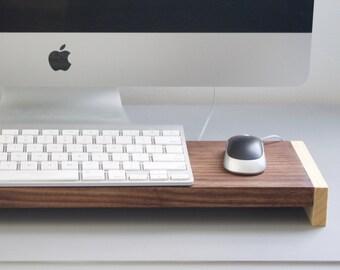 Natural Walnut Wood Office Desk Organizer Keyboard Stand Tray - MODERN HOME DECOR
