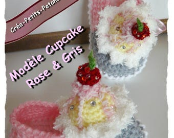 Baby booties crochet cupcake 100% original