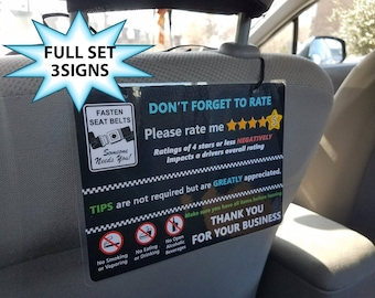 Uber and Lyft TIPS + 5 Star Rating Headrest Rideshare Sign (Style5) (Set of 3)