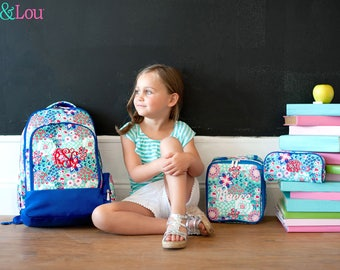 Personalized Girls Backpack Pencil Case Lunch Box Set,Monogrammed Blue Garden Party Backpack,Embroidered Backpack,Flower Girl Gift