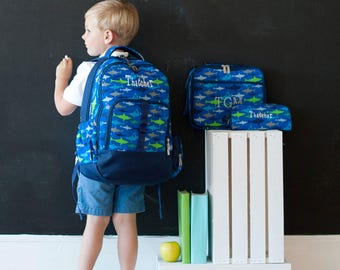 Personalized Boys Backpack Pencil Case Lunch Box Set,Monogrammed Blue Shark Backpack,Embroidered Backpack,Ring Bearer Gift