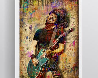 Dave Grohl Poster, Dave Grohl Print, Dave Grohl Gift, Dave Grohl Colorful Layered Tribute Fine Art, Dave Grohl Artwork for Foo Fighters Fans