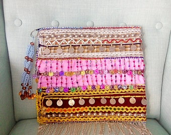 Jewel Bag, Boho Bag, Tribal Bag, Vintage Bag, Boho Clutch