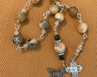 Tenner Rosary Yellow Opal White Jade Wire-Wrapped Silver Plated Prayer Bead