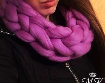 Chunky Wool Scarf, Merino wool Scarf, Arm knit Scarf, Warm Scarf, Soft Scarf