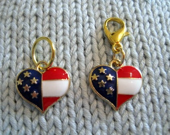 Progress keeper stitch marker heart shaped American flag, USA knitting or  crochet stitch marker or zipper pull with 14mm lobster claw clasp