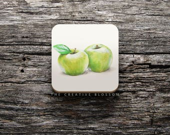Green Apples Illustration On COASTER ; 8.5 x 8.5 cm ; Watercolor Painting ; Cork Backed Coaster ; Kitchen Accessory