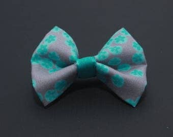 Mini hairbow grey with teal flowers
