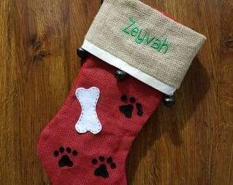 Dog stocking with embroidered name - Custom Christmas stocking -Pet Stocking -  Stocking for fur babies - Family pet stocking