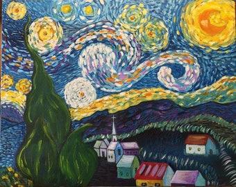 Original Reproduction of Van Gogh's Starry Night Painting