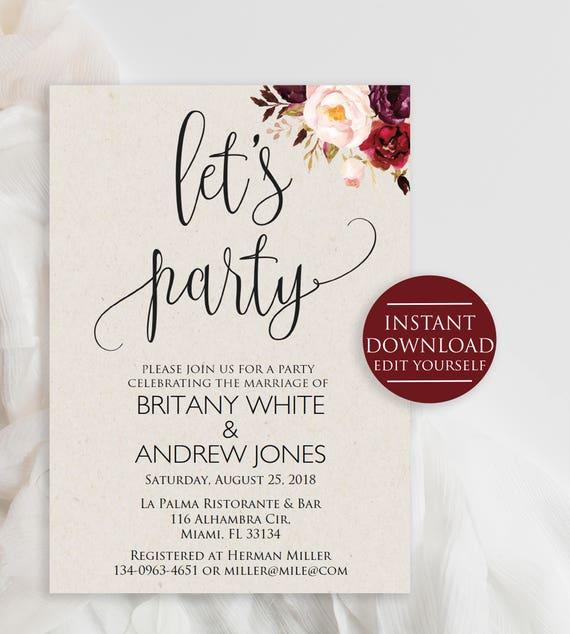 Wedding Party Invitation Party Invitation Elopement Party - Party invitation template: elopement party invitation template