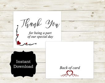Thank You For Being A Part Of Our Special Day, Wedding Day Card, Wedding Thank You Card/Stella Collection