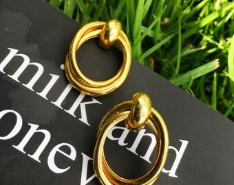 Vintage Gold Double Interlocked Hoop Earrings