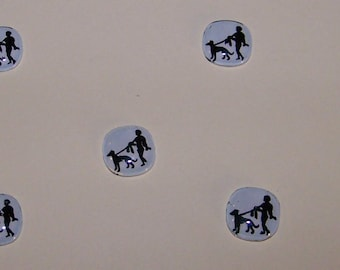 5 Vintage  Glass ART DECO Cabochons 13mm--Lady With Dog-- Art & Jewelry Embellishments