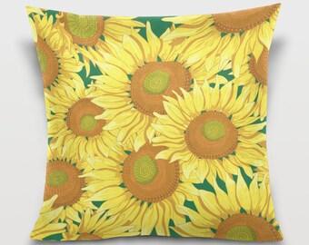 Yellow Sunflower Throw Pillow Cover Pillowcase Room Dorm Decor Sofa Decorative