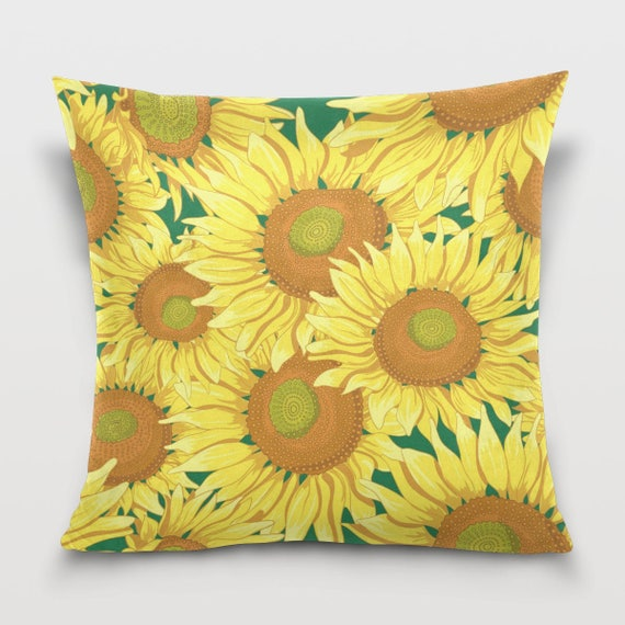 Throw Pillows With Sunflower Design : Yellow Sunflower Throw Pillow Cover Pillowcase Room Dorm Decor