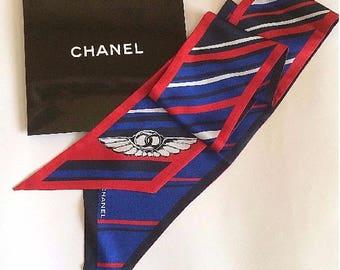 CHANEL WINGS STRIPED Multicolor Blue Silk Scarf Tie Bando