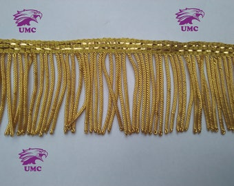 "5cm (2"" inches) (Gold Bullion wire fringe,fringe,Metal Bullion fringe,Decoration,Vestment,church,Trim,Tassel, 5cm fringe plus 1cm ribbon,NEW"
