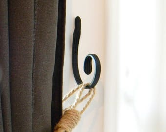 Wrought iron Hook - Black Curtain Tie Back Hook - Wrought Iron Curl Holder Curtains