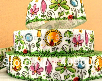 Garden Grosgrain Ribbon Flower Ribbon Ribbon By The Yard Hair Bow Ribbon