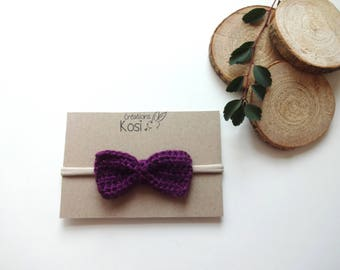 Silver purple knit baby bow headband, baby bow headband purple knit