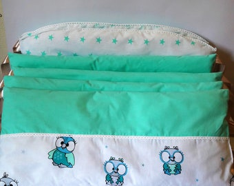 """Crib bumpers. Bumpers. Crib set. Set for newborn. Crib bumpers """"Mint little owns"""""""