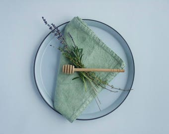 100% Linen Dinner Napkins set of two Sage Green Table