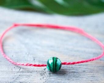 Red String of Fate Green Malachite Waterproof Wish Bracelet Red Thread Kabbalah Bracelet Protection Amulet Distance Bracelet Single Bead