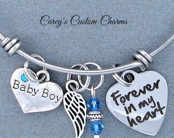 Baby Boy Memorial Keepsake Charm Bracelet, Swarovski Birthstone, Sympathy Gift, Forever In My Heart, Angel Wing, Loss Of Infant, For Mother