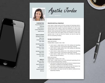 Resume Template 3 page for MS Word | Minimal Art Resume Design | CV Template Example Design | Instant Download | Betty LOVE