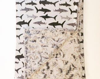 Shark Baby Blanlet| Faux Fur Blanket/ Minky Baby Blanket/ Boy baby blanket/ toddler blanlet/ baby shower gift