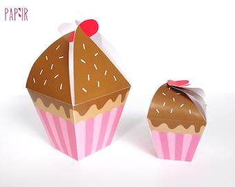Cupcake Box Printable | birthday cupcake box, treat box, surprise box, cupcake shaped box, cupcake favor box, printable box, party box