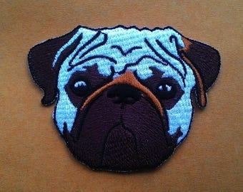 Pug dog Iron on Patch.