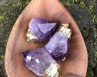 Large Raw Amethyst Necklace Amethyst Pendant Healing Crystals Gift For Her Third Eye Chakra