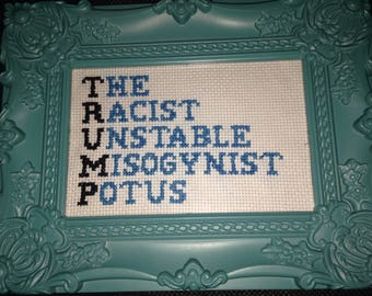 Trump Completed Cross Stitch
