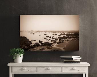 Beach Black and White Wall Art Print -- Fine Art landscape photography, Ocean, Olympic National Park Home Decor, HeatherRobersonPhoto