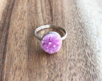 Pink Druzy Ring, 10 mm Silver Druzy Ring, Druzy Ring, Pink Drusy, Pink Druzy, Druzy Jewelry