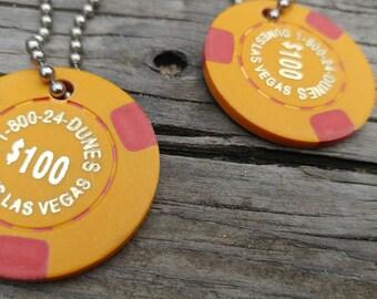 2 Vintage Dunes Casino Poker Chip Keychains // Las Vegas Historic Memorabilia